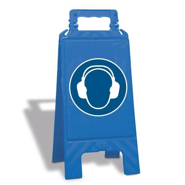 Gehörschutz benutzen - Warnaufsteller mit Sicherheitssymbolen, ASR A1.3-2013, DIN EN ISO 7010