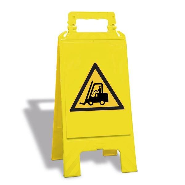 Warnung vor Flurförderzeugen - Warnaufsteller mit Sicherheitssymbolen, ASR A1.3-2013, DIN EN ISO 7010
