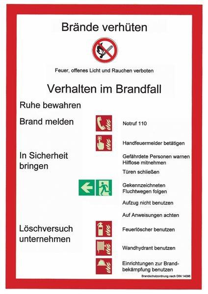 Brandschutzordnung – Betriebsaushänge, Brandschutz