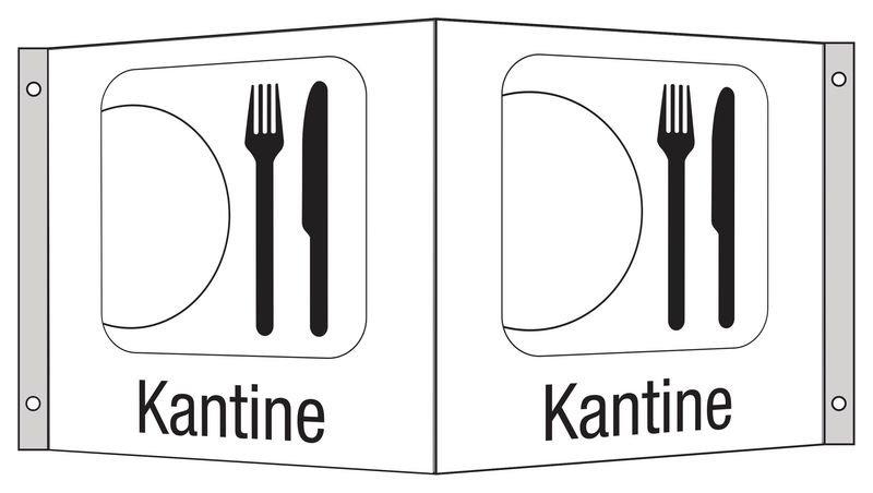 Kantine - Hinweisschilder Public, Symbole mit Text