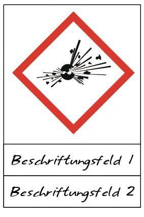 Explodierende Bombe - Gefahrstoffsymbole mit Schutzlaminat, Beschriftungsfeld, GHS/CLP