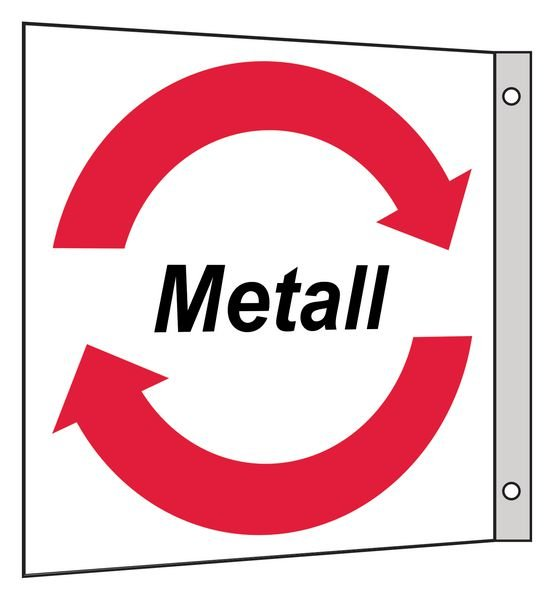 Metall- Fahnen- und Winkelschilder für Wertstoffe