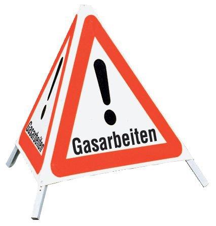 """Gasarbeiten - Faltsignale mit Symbol """"Gefahrstelle"""""""