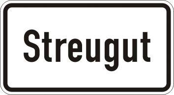 Streugut - Zusatzzeichen für Deutschland, StVO, DIN 67520