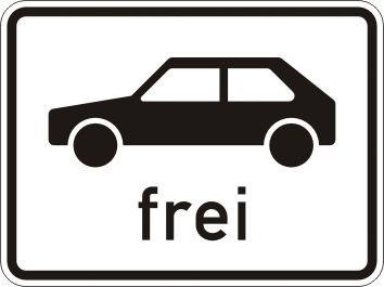 Personenkraftwagen frei - Zusatzzeichen für Deutschland, StVO, DIN 67520