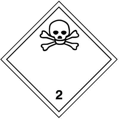 Giftiges Gas 2.3 - Gefahrzettel-Schilder zum Transport von Gefahrgut, Aluminium, ADR, RID, IMO, IATA, GGVSE, IMDG