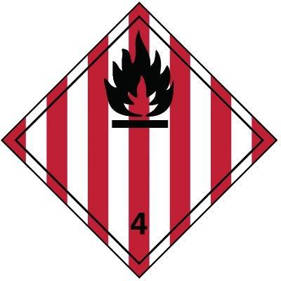 Entzündbare feste Stoffe 4.1 - Gefahrzettel-Schilder zum Transport von Gefahrgut, Aluminium, ADR, RID, IMO, IATA, GGVSE, IMDG