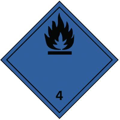 Entzündliche Gase bei Berührung mit Wasser 4.3 - Gefahrzettel-Schilder zum Transport von Gefahrgut, Aluminium, ADR, RID, IMO, IATA, GGVSE, IMDG