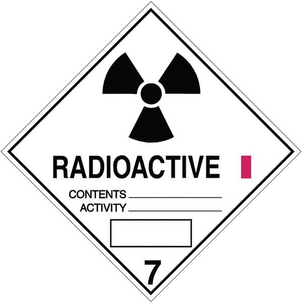 Radioaktive Stoffe I 7 - Gefahrzettel-Schilder zum Transport von Gefahrgut, Aluminium, ADR, RID, IMO, IATA, GGVSE, IMDG