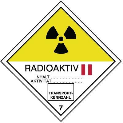 Radioaktive Stoffe II 7 - Gefahrzettel-Schilder zum Transport von Gefahrgut, Aluminium, ADR, RID, IMO, IATA, GGVSE, IMDG