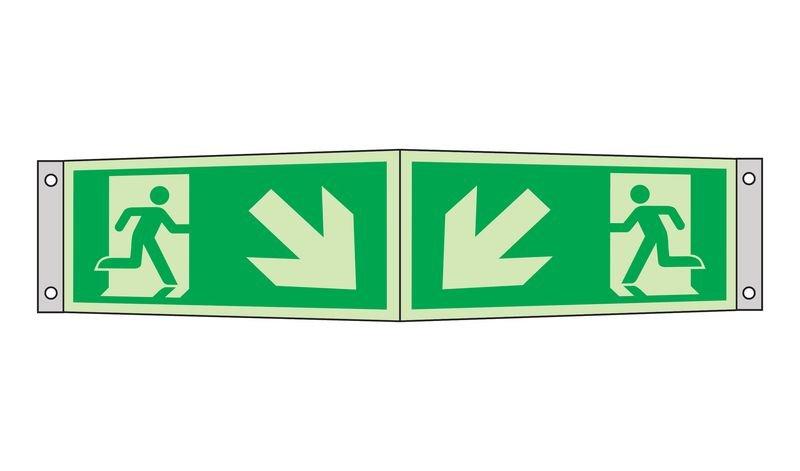 Notausgang Pfeile innen, schräg nach unten - Rettungszeichen-Kombi-Symbole als Fahnen-, Winkel-, Deckenschilder, ASR A1.3-2013, DIN EN ISO 7010