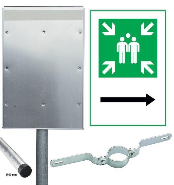Sammelstelle / Richtungspfeil rechts - Kombischilder-Sets, ASR A1.3-2013, DIN EN ISO 7010