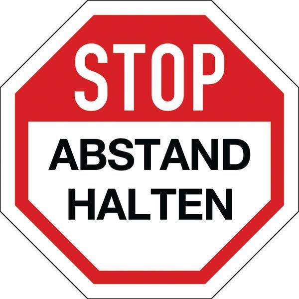 STOP ABSTAND HALTEN I - SetonWalk Bodenmarkierung, R10 nach DIN 51130/ASR A1.5/1,2