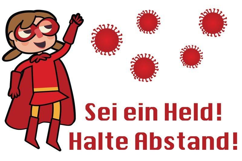 Sei ein Held! Halte Abstand! w - SetonWalk Bodenmarkierung, R10 nach DIN 51130/ASR A1.5/1,2