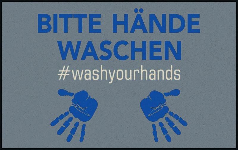 BITTE HÄNDE WASCHEN - Fuß- und Eingangsmatten, waschbar