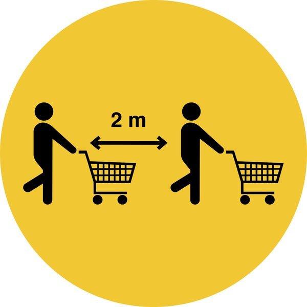 """Hinweisschilder für den Einzelhandel """"Bitte auch mit Einkaufswagen Abstand halten"""""""