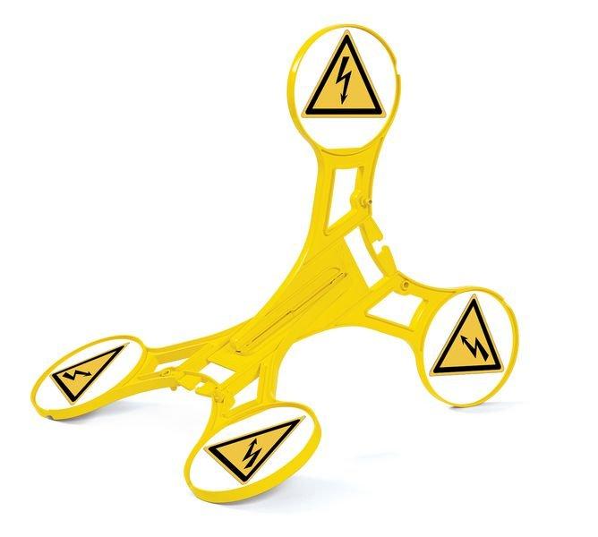 Warnung vor elektrischer Spannung - SETON Warnaufsteller 360 mit Warnzeichen nach DIN EN ISO 7010