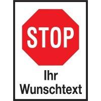 """Aluminium-Schilder im STOP-Design - """"Halt! Vorfahrt gewähren"""" mit Text nach Wunsch"""