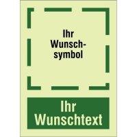 XTRA-GLO Rettungszeichen-Hinweisschild mit Symbol und Text nach Wunsch, ASR A1.3-2013, DIN EN ISO 7010