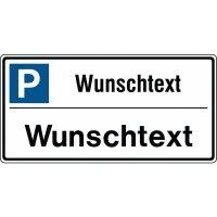 """Parkplatz-Kombi-Schilder - Symbol """"Parken"""" mit Text nach Wunsch, Aluminium"""