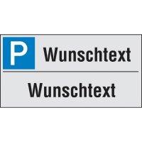 PREMIUM Parkplatz-Reservierungsschilder mit Text nach Wunsch, zweizeilig, Aluminium