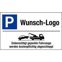 """Parkplatz-Kombi-Schilder - """"Parken"""" mit Abschlepphinweis und Logo nach Wunsch, Aluminium, edel"""