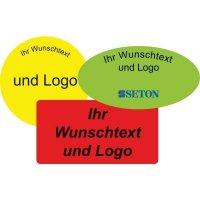 Rollen-Etiketten mit Text und Logo nach Wunsch, oval, Papier