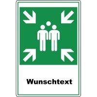Sammelpunkt-Kombi-Schilder mit Text nach Wunsch, profilrandverstärkt