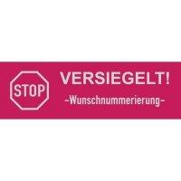 Sicherheits-Siegel mit Stopzeichen und Wunschnummerierung, rechteckig, Übertragungsschutz