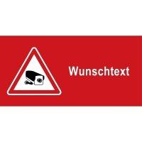 Videoüberwachungs-Warnkennzeichnung mit Text nach Wunsch