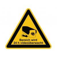 """Warnzeichen-Schilder mit Piktogramm und Hinweis """"Bereich wird 24 h videoüberwacht"""""""