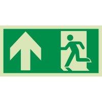 Notausgang links oben - XTRA-GLO Rettungszeichen Kombischilder, ASR A1.3-2013, DIN EN ISO 7010