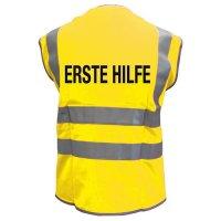 """Warnwesten mit """"Erste-Hilfe"""" Standardtext"""