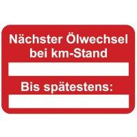Nächster Ölwechsel bei km-Stand – Aufkleber zur Fahrzeugkennzeichnung