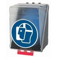 Gesichtsschutz benutzen - Aufbewahrungsboxen für Schutzausrüstung