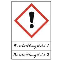 Ausrufezeichen - Gefahrstoffsymbole mit Schutzlaminat, Beschriftungsfeld, GHS/CLP
