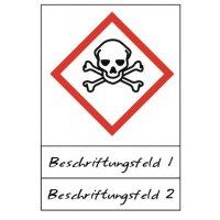 Totenkopf mit gekreuzten Knochen - Gefahrstoffsymbole mit Schutzlaminat, Beschriftungsfeld, GHS/CLP