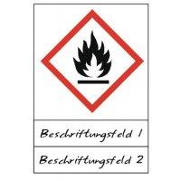 Flamme - Gefahrstoffsymbole mit Schutzlaminat, Beschriftungsfeld, GHS/CLP