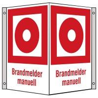 """Brandschutzzeichen-Kombi-Schilder """"Brandmelder, manuell"""" nach BGV A8, ASR A1.3 und DIN 4844"""