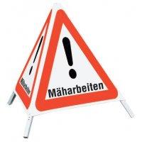 """Mäharbeiten - Faltsignale mit Symbol """"Gefahrstelle"""""""
