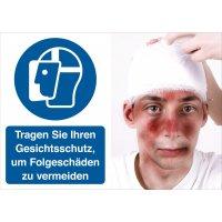 Gesichtsschutz benutzen – Symbolschilder Prävention