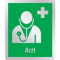 Arzt - Erste-Hilfe-Schilder in Metall-Optik, DIN EN ISO 7010