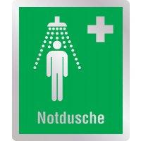 Notdusche - Erste-Hilfe-Schilder in Metall-Optik, DIN EN ISO 7010