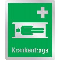Krankentrage - Erste-Hilfe-Schilder in Metall-Optik, DIN EN ISO 7010
