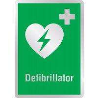 Defibrillator - Erste-Hilfe-Schilder in Metall-Optik, DIN EN ISO 7010