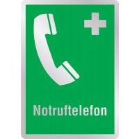 Notruftelefon - Erste-Hilfe-Schilder in Metall-Optik, DIN EN ISO 7010
