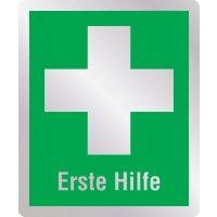 Erste Hilfe - Erste-Hilfe-Schilder in Metall-Optik, DIN EN ISO 7010