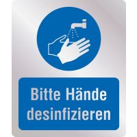 Bitte Hände desinfizieren - Hygiene-Schilder, Metall-Optik