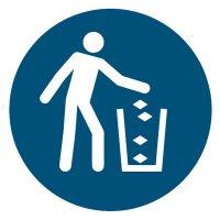 """Gebotszeichen """"Abfallbehälter benutzen"""" nach ASR A1.3:2013 und DIN EN ISO 7010"""
