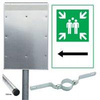 Sammelstelle / Richtungspfeil links - Kombischilder-Sets, ASR A1.3-2013, DIN EN ISO 7010